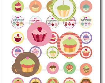 Fun Cupcakes - 1 Inch Circles Digital Collage Sheet (PDF & JPG)