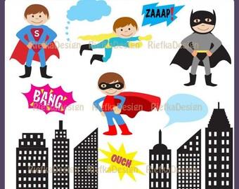 Super Heroes Clipart Set - Boy Super Heroes Clipart