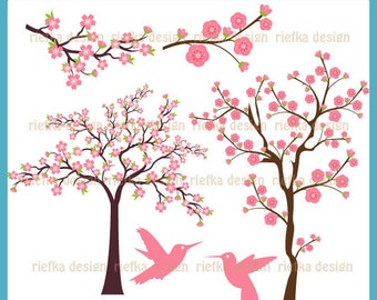 Cherry Blossom Trees - Digital Clipart