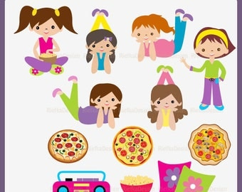 Pajamas and Pizza Party Clipart