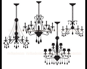 Chandelier in Black Clipart
