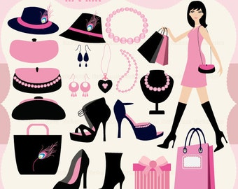FashionAccessories in Pink Digital Clipart Set - Personal and Commercial Use - Scrapbooking, card design, web design
