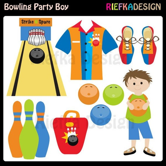 Bowling Party Boy Clipart