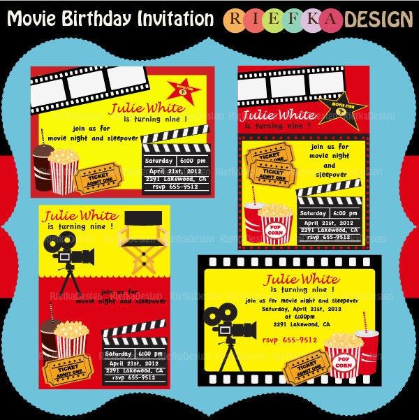 Movie Birthday Invitation Digital Invites Blank By Riefka