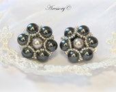 Clip-on Earrings With Gray And Silver Glass Pearls - Perfect For Bridesmaids