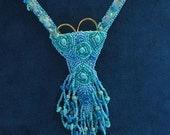 Scissor case bead embroidery necklace