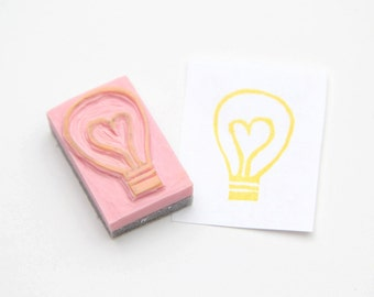 Heart Light Bulb Hand Carved Rubber Stamp For Acrylic Blocks