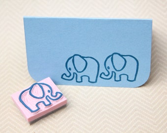 Baby Elephant Hand Carved Rubber Stamp for Acrylic Blocks