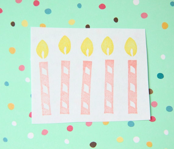 Birthday Candle Hand Carved Stamp Unmounted