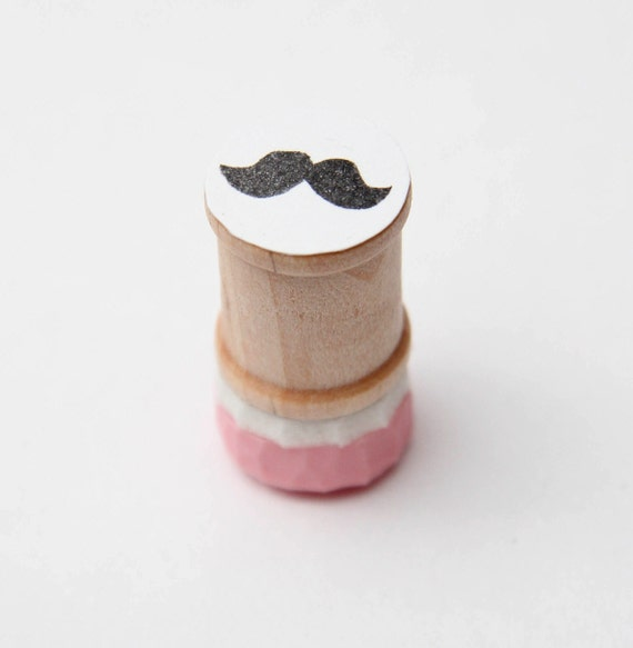 Mini Mustache Hand Carved Rubber Stamp on Spool
