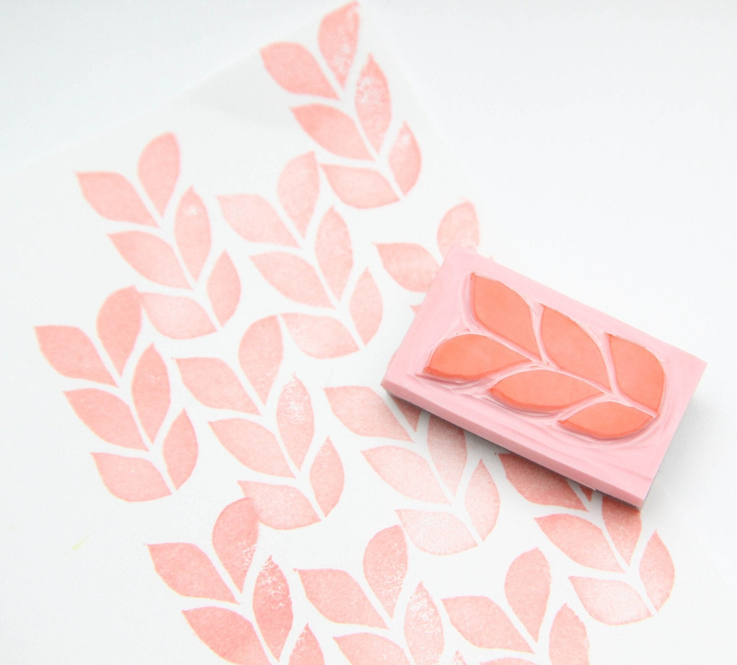 Knit hand carved rubber stamp for acrylic blocks