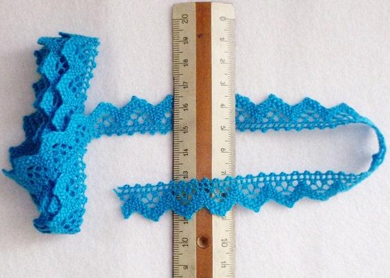 Crochet trim turquoise. One yard