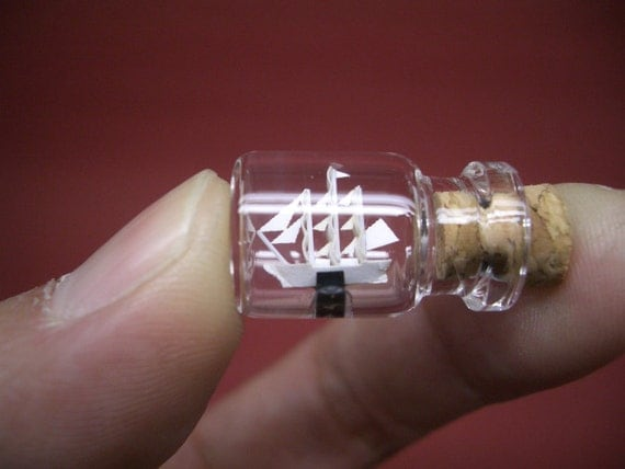 Tiny Sailing Ship is in a tiny bottle -Bottle ship-