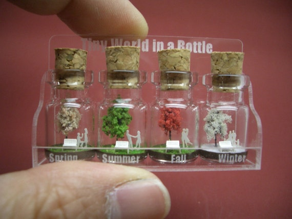 Tiny trees with a couple & family in four seasons in a tiny bottle in a small cute case ver.1