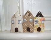 Fabric Houses - Set of 3 (stripe, dot and floral)