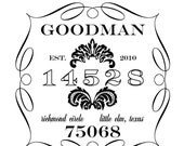 1.5 X 2 IN -- VINTAGE DAMASK RUBBER STAMP -- STYLE SG.NRS.02 -- personalized