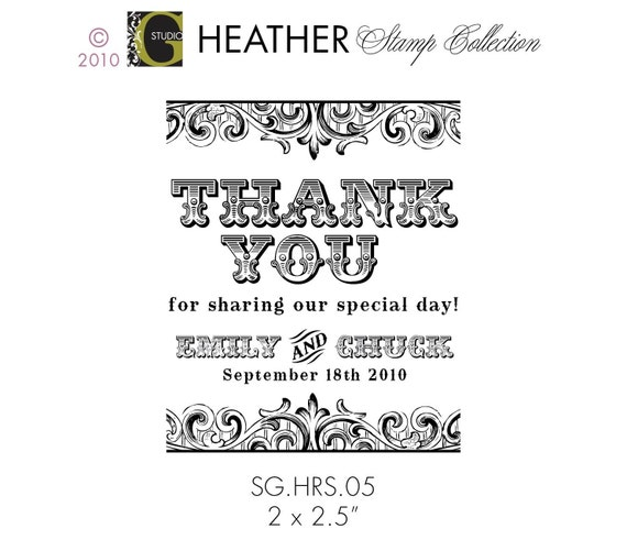 THANK YOU Card Favor Stamp – 2 x 2.5 in  – Personalized Wedding Paper Goods