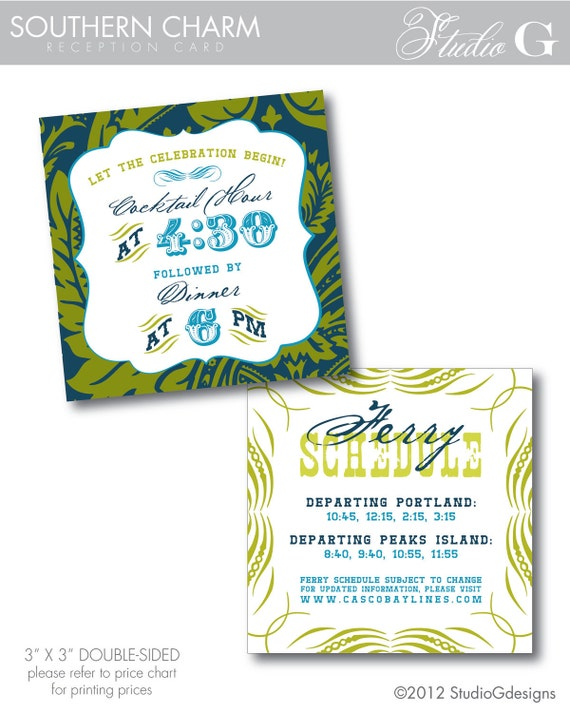SOUTHERN CHARM Reception Card - digital file or printed