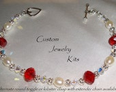 Red and clear Swarovski crystal Freshwater pearl valentine bracelet kit with round or heart toggle clasp