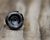 Reserved - SALE - Black spiral ceramic ring on adjustable sterling silver base