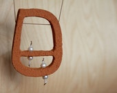 Made to order - Suspended - terracotta & pearls minimalist art necklace
