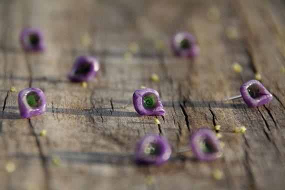 Lavender tears - ear studs - ready to ship