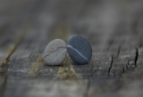 Pebble ear studs on sterling silver posts