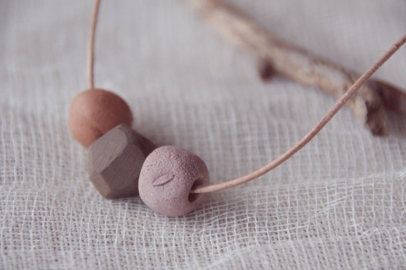 3 elements - Handmade ceramic necklace