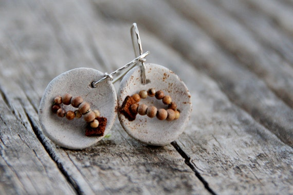 Raised from ashes - pit fired ceramic earrings - tribal inspired