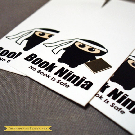 "Quirky ""Book ninja - no book is safe"" bMarks (Pack of 8) Mini Bookmarks"