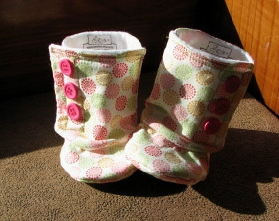Baby Girl Boots, White with Pink, Green, and Orange