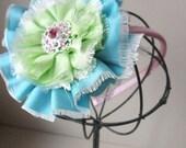 Shabby Chic Flower Headband Pink Aqua Lime