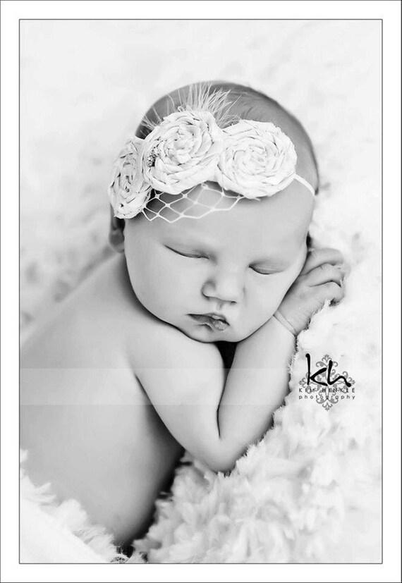 Newborn Vintage Inspired Headband-Flower Headband-Baby Girl Headband-Shabby Chic Headband