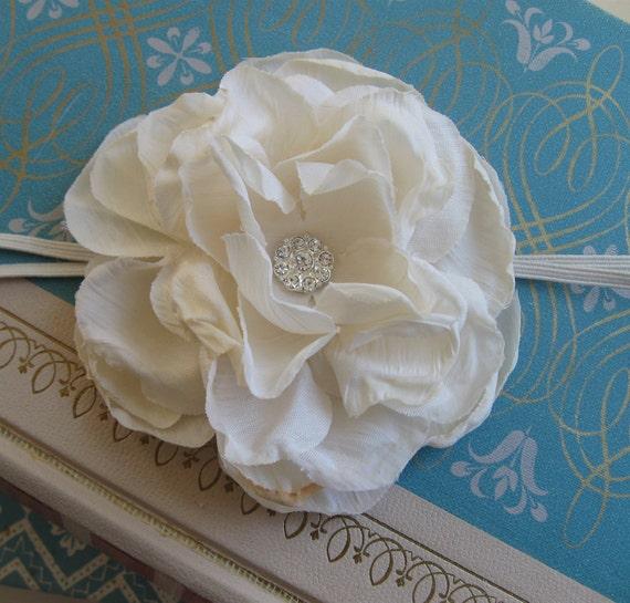 Shabby Rose Headband in Ivory