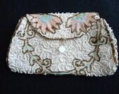 Vintage Rare, 1940s, 1950s, Beaded Silk Evening Hand Clutch, Purse, Bag