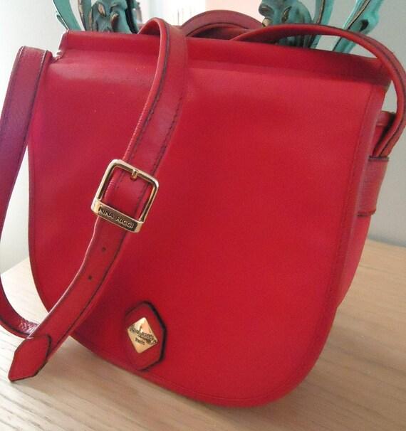 Vintage Nina Ricci Paris Red Canvas Cross Shoulder Handbag, Purse