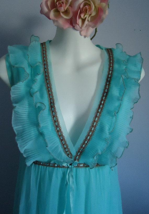 Vintage 1960s St. Michael Lingerie Aqua Blue Nightgown