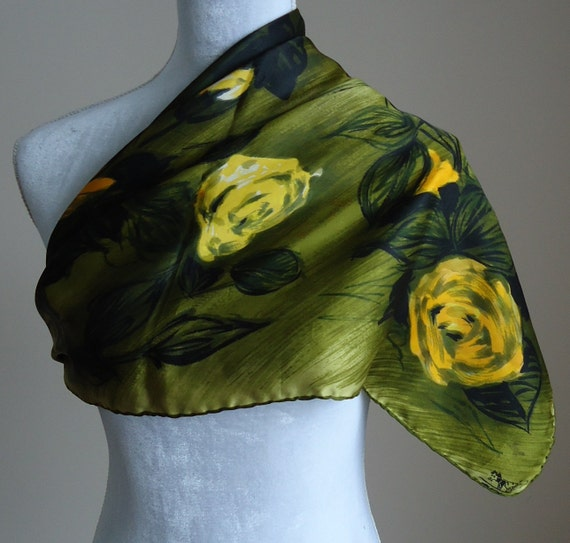 Vintage Watercolor Silk Scarf Made in Italy
