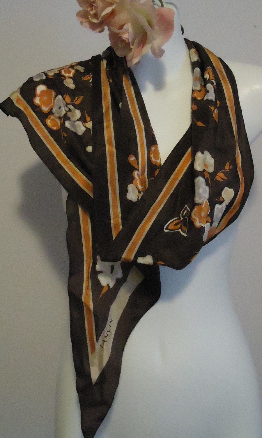 Vintage Lanvin Paris Silk Scarf by MadMakCloset on Etsy Vintage Silk Scarves