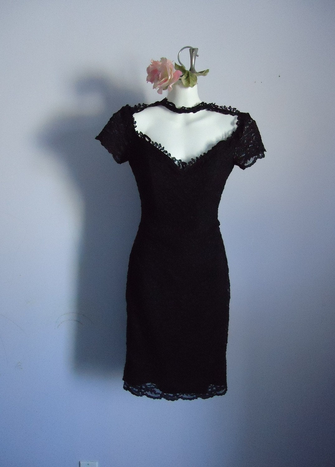 Vintage 1990 Pretty Woman Black Lace Formal Evening Prom