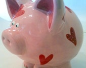 Pink Piggy Bank with Red Sparkle Hearts