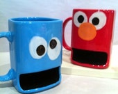 4 MUGS    Monster and Friendly Characters Kids Cookie Dunk and Milk Mug
