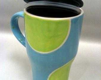 Travel Mug- Polka Dot -Light Blue and Green