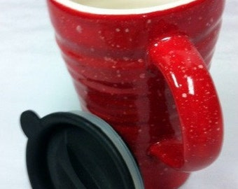 Travel Mug Red Ridges with Speckles