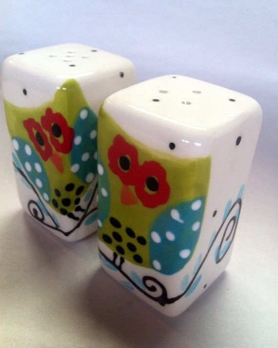 Hoot owl salt and pepper shakers by mypolkadotpottery on etsy