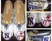 Custom Hand Painted New York Yankees Baseball TOMS Shoes