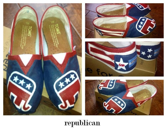 Custom Hand Painted Republican Elephant TOMS Shoes
