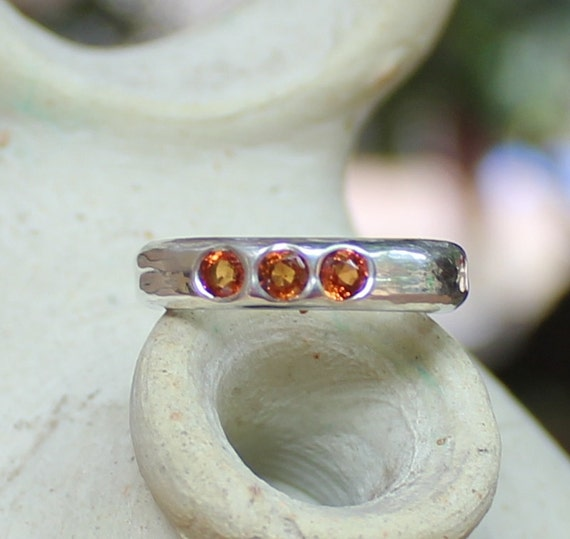 Hand Forged 3 Stone Argentium Sterling Ring With Orange Sapphires SZ 4.5