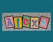 5 letters -- Bright and Happy Quilted Custom Name or Inspirational Wallhanging