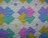 "Beautiful ""Card Tricks"" Patchwork Quilt, 88"" X 88"", Handmade Quilt-Bed Quilt-Made in USA by MJ Quilts-Free Shipping"